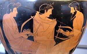 Music lesson: teacher (right, inscription: ΣΜΙ...