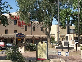 Taos Plaza and Hotel La Fonda taken in June 2007