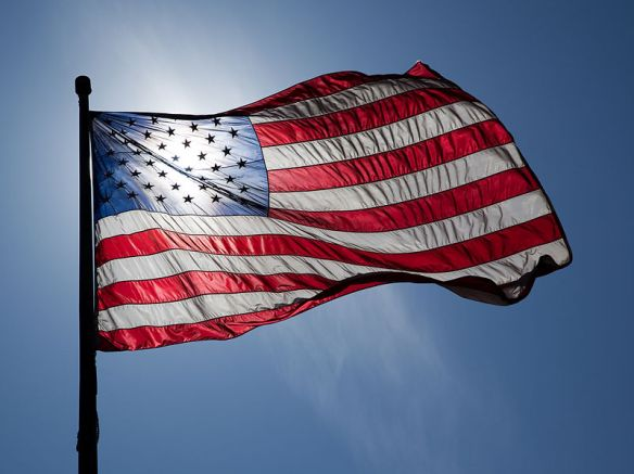 U.S. Flag, Backlit by Sun