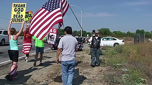 Westboro Baptist Church protesters and Patriot...