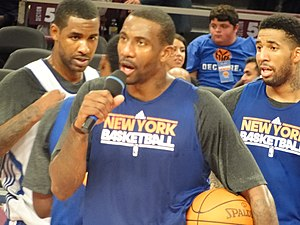 Amar'e Stoudemire of the New York Knicks addre...