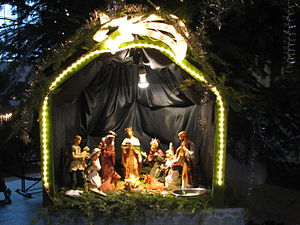 The small Bethlehem scene under the Christmas ...