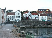 Traditional white houses around the harbour in Cellardyke