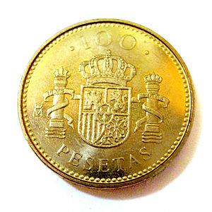Español: Moneda de cien pesetas (100 ESP) del ...