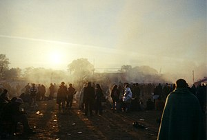 Dawn breaks at Glastonbury Festival in the yea...