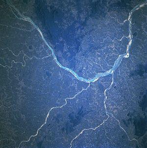 English: NASA image of Mahanadi River