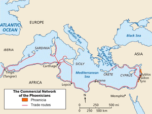 The Phoenician trade routes in the Mediterranean.