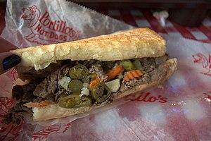 English: An Italian Beef Sandwich from Portill...