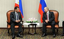 Duterte meets with Russian President Vladimir Putin during the APEC summit in Lima, Peru, November 19, 2016