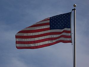 English: American Flag blowing in the wind