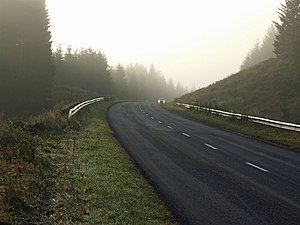English: Wellhaugh A misty morning on the road...