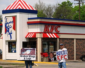 protestors outside a KFC restaurant in Royal O...