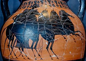 English: Chariot rounding the turning post. Bl...