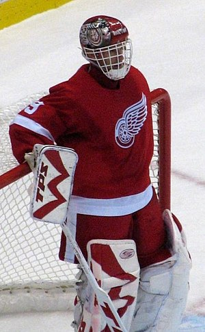 English: Photo of Dominik Hasek of the Detroit...