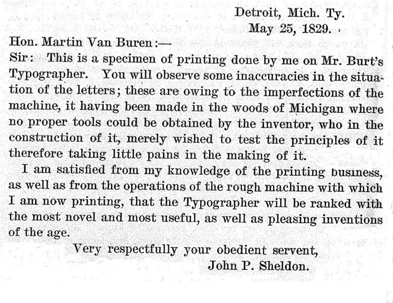 First typewritten letter, 1829 - Wikimedia Image