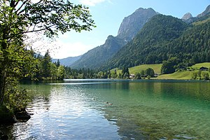 Hintersee, lake near Ramsau in Bavaria, Germany