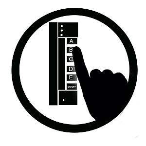 A black and white icon of a hand on a clicker,...