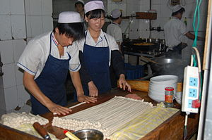 Noodle production in China. Judging from locat...