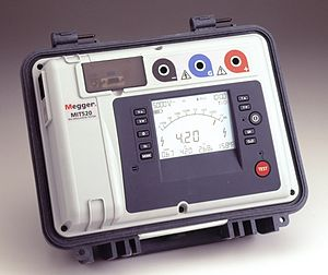 Modern version of Megger insulation tester MIT...