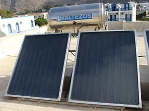 Solar panels for water heating on top of a hot...