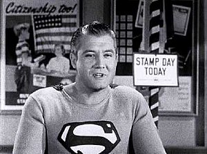 Screen capture of actor George Reeves as Super...