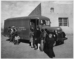 Taos County, New Mexico. Children line up for ...