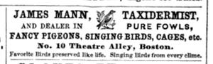 English: Ad for James Mann, taxidermist; Theat...