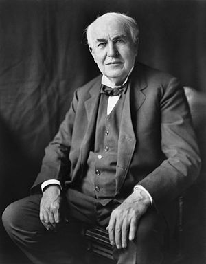 """Thomas Alva Edison, three-quarter length..."
