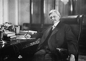 English: Thomas Marshall in his senate office ...