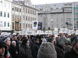 English: Protests on Austurvöllur because of t...