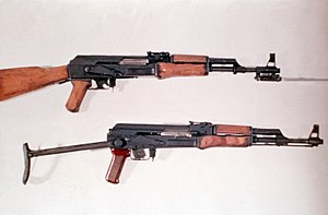 AK-47 and Type 56 are rifles used in the military.