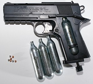 BB Pistol with CO2 cartridges and BBs. This pi...