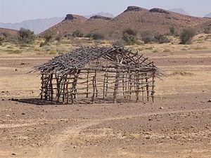 English: A Hut frame near City of Awaran, in B...