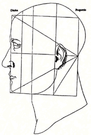 Leonardo Da Vinci's illustration from De Divina Proportione applies the golden ratio to the human face.