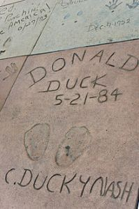 Donald Duck   Wikipedia Donald s footprints at the Grauman s Chinese Theatre in Hollywood  The  prints were made during the celebration of Donald s 50th birthday