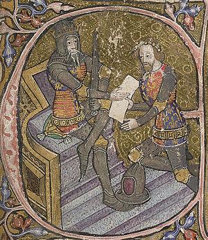 English: 14th century manuscript initial depic...