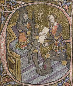 14th century manuscript initial depicting Edwa...
