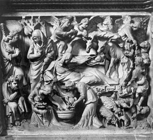 Birth of Christ (Detail on the pulpit at Sant'...