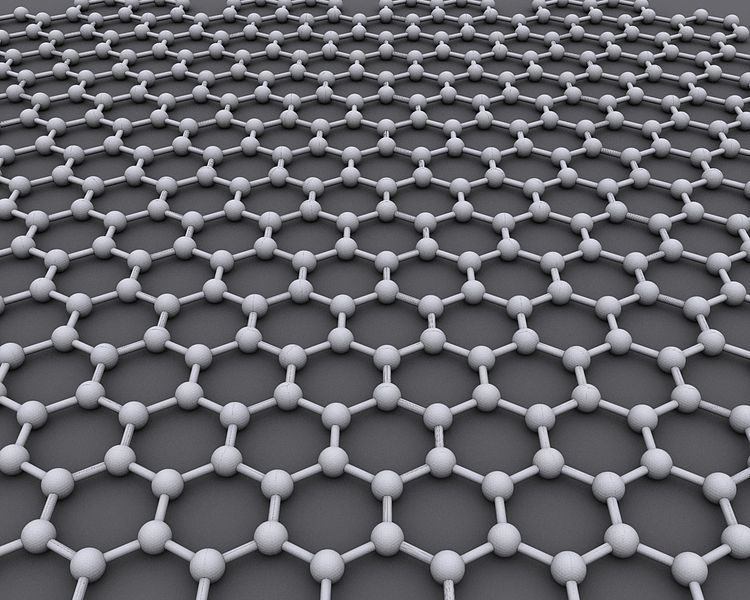 Computer image of graphene's hexagonal structure