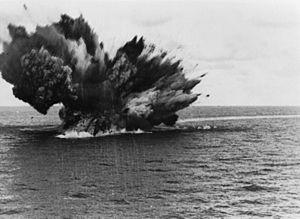 British battleship HMS BARHAM explodes as her ...