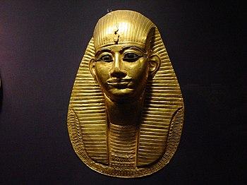 English: A Grave mask of pharaoh Amenemope of ...