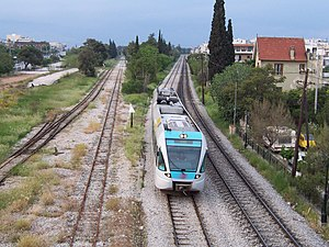 A Proastiakos train (Stadler Railbus) in Agioi...