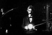 Mark Twain in Tesla's lab, 1894
