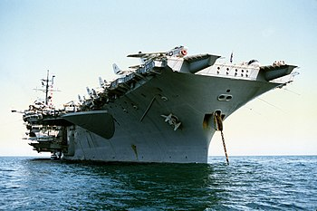 A starboard bow view of the aircraft carrier U...