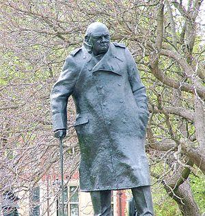 Winston Churchill statue in London, Parliament...