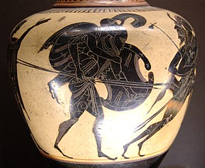 Aeneas carrying Anchises. Attic black-figure o...