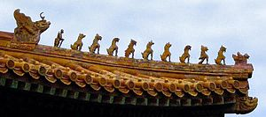 Decorazione tradizionale dei tetti sul palazzo imperiale