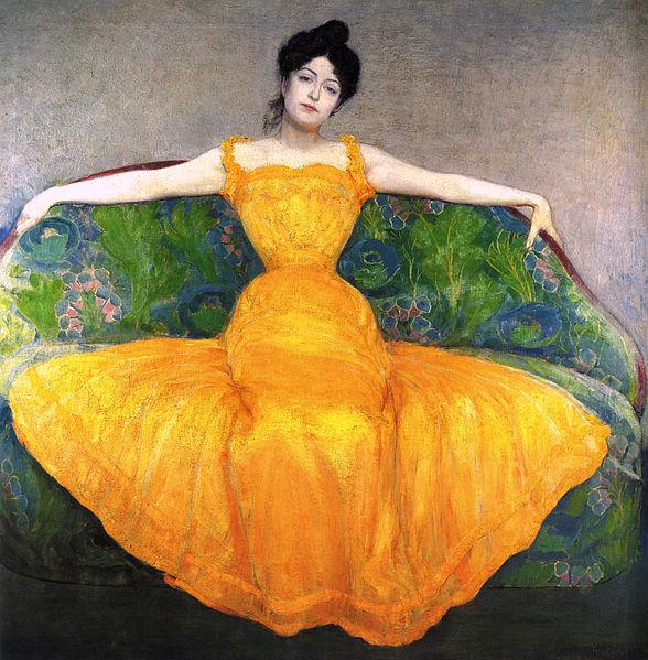 Archivo: Max Kurzweil 1899 Mujer con vestido ONU amarillo.jpg