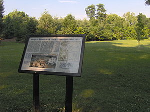 Interpretive sign recalling the muster of the ...