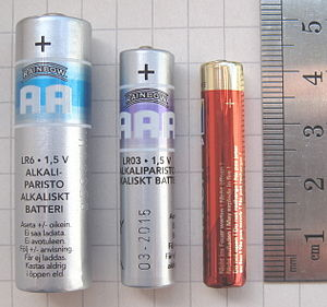 An AA battery, an AAA and an AAAA Battery